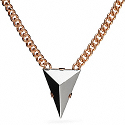 SHORT PYRAMID SPIKE NECKLACE - f26518 - SILVER