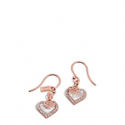 COACH F26546 - MOTHER OF PEARL HEART EARRINGS ROSE GOLD/WHITE