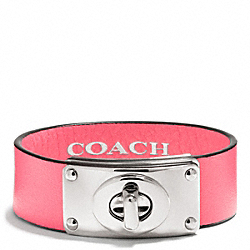 COACH F26551 Small Leather Turnlock Plaque Bracelet