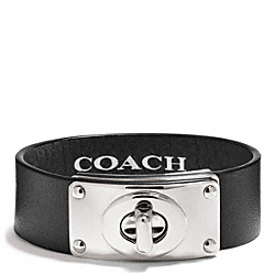 COACH F26551 Small Leather Turnlock Plaque Bracelet SILVER/BLACK