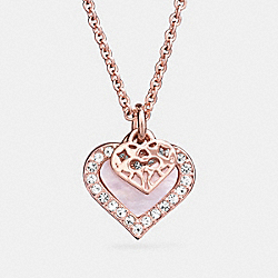 COACH F26557 - MOTHER OF PEARL HEART NECKLACE ROSE GOLD/WHITE