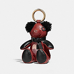 COACH F26578 Checker Heart Bear Bag Charm TERRACOTTA/GOLD