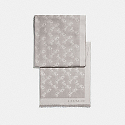 COACH F26587 Bicolor Horse And Carriage Oblong Scarf GREY BIRCH