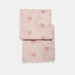 COACH HEART PRINT LIGHTWEIGHT SIGNATURE SHAWL - BLUSH - F26596