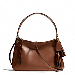 COACH F26601 Legacy Leather Double Gusset Crossbody BRASS/COGNAC