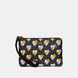 COACH F26614 Corner Zip Wristlet With Checker Heart Print MIDNIGHT MULTI/LIGHT GOLD