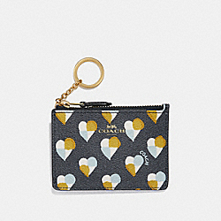 COACH F26615 Mini Id Skinny With Checker Heart Print MIDNIGHT MULTI/LIGHT GOLD