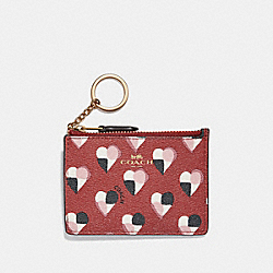 COACH F26615 Mini Id Skinny With Checker Heart Print TERRACOTTA MULTI/LIGHT GOLD
