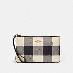 COACH F26620 Large Wristlet With Buffalo Plaid Print MIDNIGHT MULTI/IMITATION GOLD