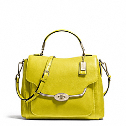 COACH F26624 Madison Leather Small Sadie Flap Satchel LIGHT GOLD/ACID GREEN