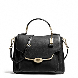 COACH F26624 - MADISON LEATHER SMALL SADIE FLAP SATCHEL LIGHT GOLD/BLACK