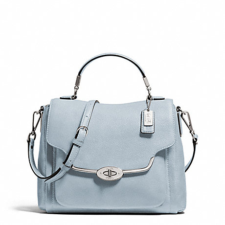 COACH F26624 MADISON LEATHER SMALL SADIE FLAP SATCHEL SILVER/POWDER-BLUE
