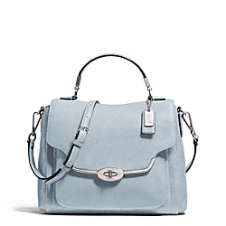 COACH F26624 Madison Leather Small Sadie Flap Satchel SILVER/POWDER BLUE