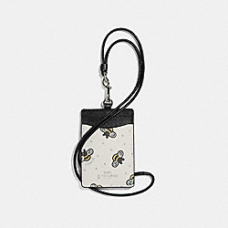ID LANYARD WITH BEE PRINT - f26654 - CHALK MULTI/SILVER