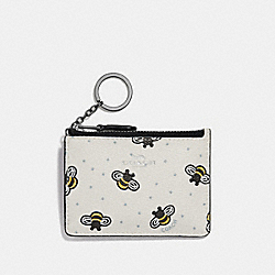 COACH F26657 Mini Id Skinny With Bee Print CHALK MULTI/SILVER