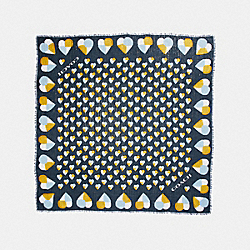 ALLOVER CHECKER HEART PRINT OVERSIZED SQUARE - f26682 - MIDNIGHT NAVY