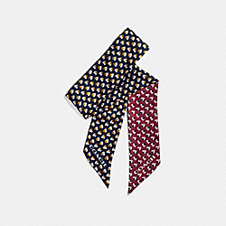 CHECKER HEART SKINNY SCARF - f26685 - TERRACOTTA/MIDNIGHT NAVY