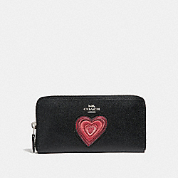 ACCORDION ZIP WALLET WITH HEART EMBROIDERY - f26693 - SILVER/BLACK
