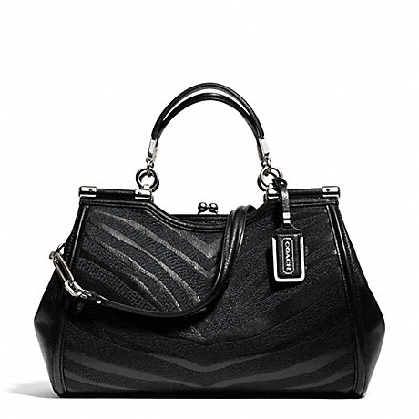 COACH F26701 MADISON ZEBRA CARRIE SATCHEL SILVER/BLACK