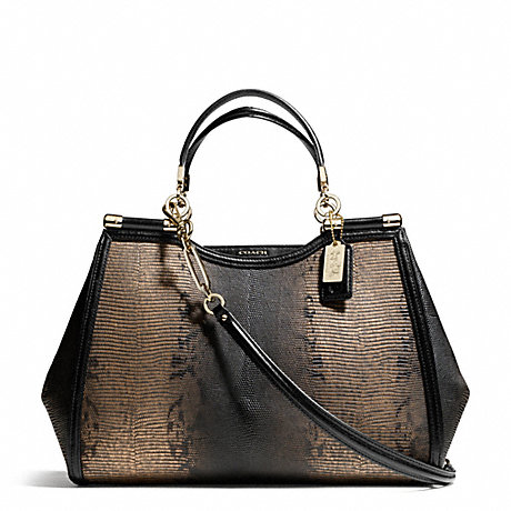 COACH F26763 MADISON METALLIC SPOTTED LIZARD CAROLINE SATCHEL LIGHT-GOLD/BRONZE