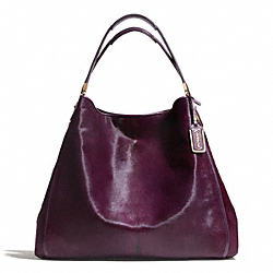 COACH F26764 Madison Mixed Haircalf Large Phoebe Shoulder Bag LIGHT GOLD/BLACK VIOLET
