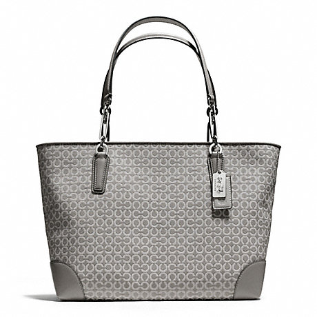 COACH f26767 MADISON NEEDLEPOINT OP ART EAST/WEST TOTE SILVER/LIGHT GREY