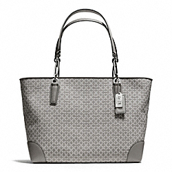 COACH F26767 - MADISON NEEDLEPOINT OP ART EAST/WEST TOTE SILVER/LIGHT GREY