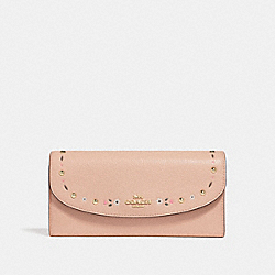 SLIM ENVELOPE WALLET WITH FLORAL TOOLING - f26786 - NUDE PINK/LIGHT GOLD