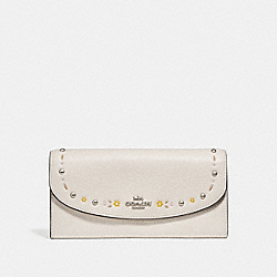 SLIM ENVELOPE WALLET WITH FLORAL TOOLING - f26786 - SILVER/CHALK