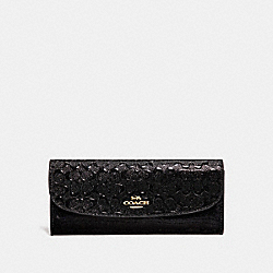 SOFT WALLET IN SIGNATURE LEATHER - F26814 - BLACK/LIGHT GOLD