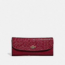 COACH F26814 Soft Wallet In Signature Leather CHERRY /LIGHT GOLD