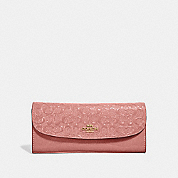 COACH F26814 - SOFT WALLET IN SIGNATURE LEATHER MELON/LIGHT GOLD