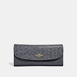 COACH F26814 - SOFT WALLET IN SIGNATURE LEATHER MIDNIGHT/LIGHT GOLD