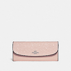 COACH F26814 Soft Wallet In Signature Leather SILVER/LIGHT PINK