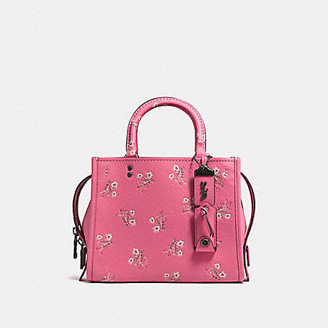 COACH F26836 ROGUE 25 WITH FLORAL BOW PRINT BRIGHT PINK/BLACK COPPER