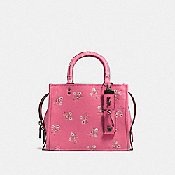 COACH F26836 - ROGUE 25 WITH FLORAL BOW PRINT BRIGHT PINK/BLACK COPPER