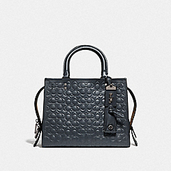 COACH F26839 Rogue 25 In Signature Leather With Floral Bow Print Interior BP/MIDNIGHT NAVY