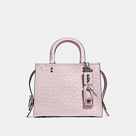 COACH F26839 ROGUE 25 IN SIGNATURE LEATHER WITH FLORAL BOW PRINT INTERIOR BP/ICE-PINK