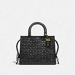 COACH F26839 Rogue 25 In Signature Leather With Floral Bow Print Interior BLACK/OLD BRASS