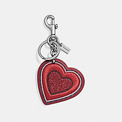 PRETTY PRAIRIE HEART BAG CHARM - f26896 - TRUE RED/SILVER