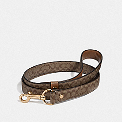 COACH F26906 Large Pet Leash In Signature Crossgrain Leather GOLD/KHAKI SADDLE