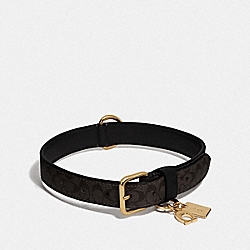COACH F26907 - LARGE PET COLLAR IN SIGNATURE CROSSGRAIN LEATHER BLACK/MAHOGANY/GOLD