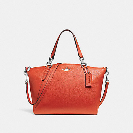 COACH f26917 SMALL KELSEY SATCHEL ORANGE RED/SILVER