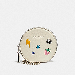 COACH F26934 Round Coin Case With Allover Motifs CHALK MULTI/SILVER
