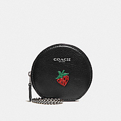 COACH F26936 Round Coin Case With Strawberry MULTICOLOR 1/SILVER