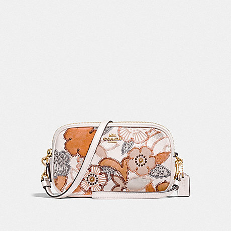 COACH F26953 SADIE CROSSBODY CLUTCH WITH PATCHWORK TEA ROSE AND SNAKESKIN DETAIL LI/CHALK-MULTI