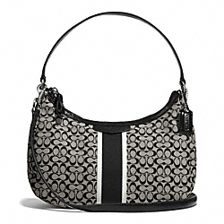 COACH F26981 - SIGNATURE STRIPE 6CM DEMI CROSSBODY SILVER/BLACK/WHITE/BLACK