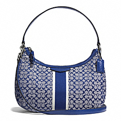 COACH F26981 - SIGNATURE STRIPE 6CM DEMI CROSSBODY SILVER/NAVY/NAVY