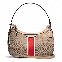 COACH F26981 - SIGNATURE STRIPE 6CM DEMI CROSSBODY SILVER/KHAKI/HOT ORANGE