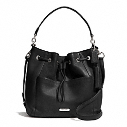 COACH F27003 Avery Leather Drawstring SILVER/BLACK
